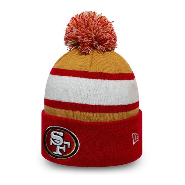 NEW ERA San Franisco 49Ers  NFL Striped Cuff Knit Bobble Hat [red/white/gold]