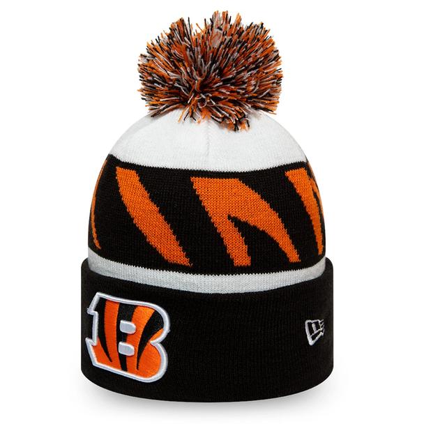 NEW ERA Cincinnati Bengals NFL Striped Cuff Knit Bobble Hat [blk/wht]