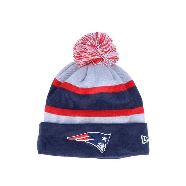 NEW ERA New England Patriots NFL Striped Cuff Knit Bobble Hat