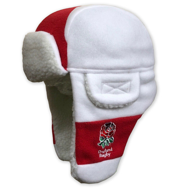 RFU england rugby boys fleece trapper hat [white/red] - Junior