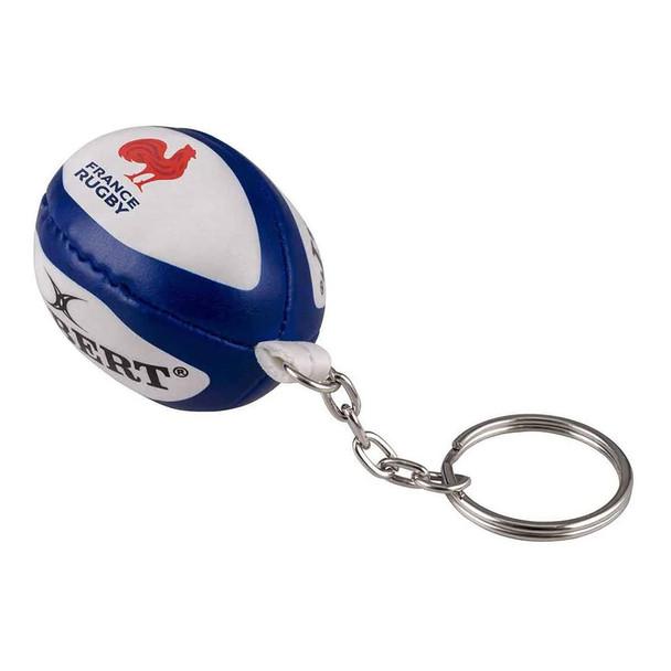 GILBERT france rugby ball key ring [white/blue]