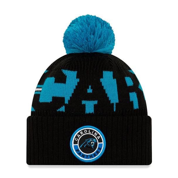 NEW ERA carolina panthers NFL sideline sport knit bobble beanie hat [black/aqua blue]