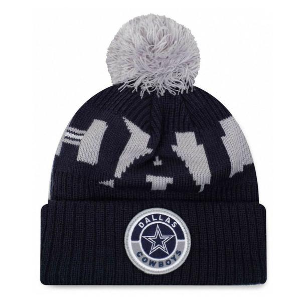 NEW ERA dallas cowboys NFL sideline sport knit bobble beanie hat [navy/grey]