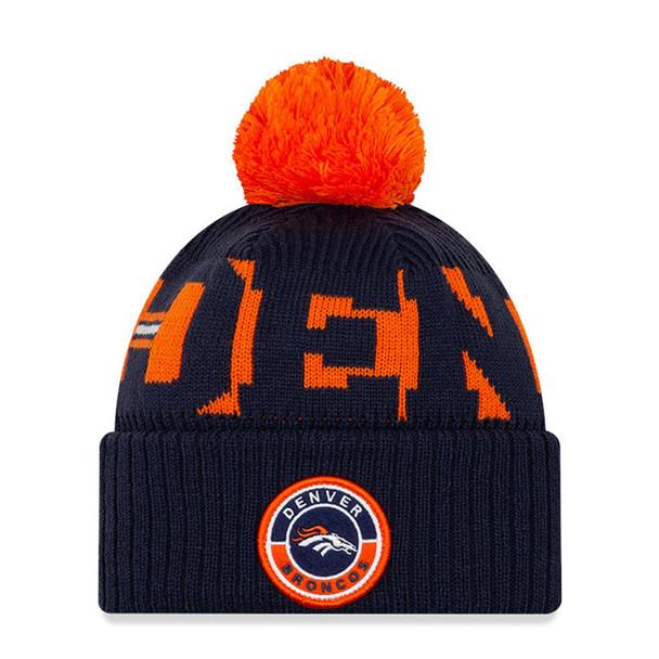 NEW ERA Denver Broncos NFL sideline sport knit bobble beanie hat [navy orange]