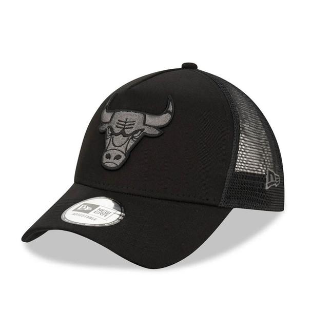 NEW ERA chicago bulls tonal black A frame trucker cap [black]