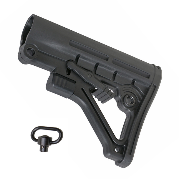 AR-15 Mil-Spec Tactical Six Position Stock w/ QD Sling Swivel