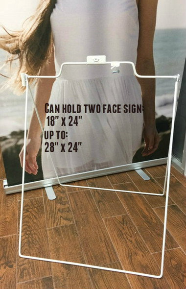 """This steel light A-Frame can accommodate a 18"""" x 24""""  or up to 24"""" x 28"""" sign.  This is the perfect two sided portable sidewalk sign.  Great for indoors or outdoors.  Colors Available: - White Frame"""