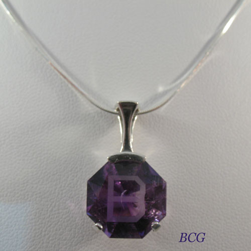"""B"" Initial Amethyst Necklace #PE-2038"