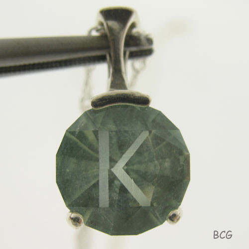 """K"" Initial Prasiolite Necklace #PE-2024"