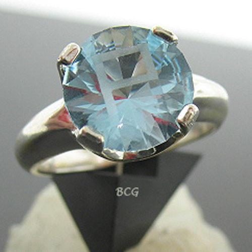 """P"" Initial Blue Topaz Ring #GRI-1854"