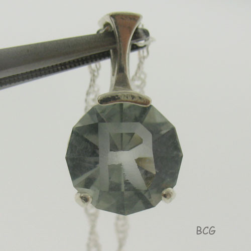 """R"" Initial Prasiolite Necklace #PE-2025"