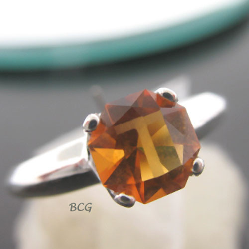 """T"" Initial Ring Madeira Citrine #GRI-1994"