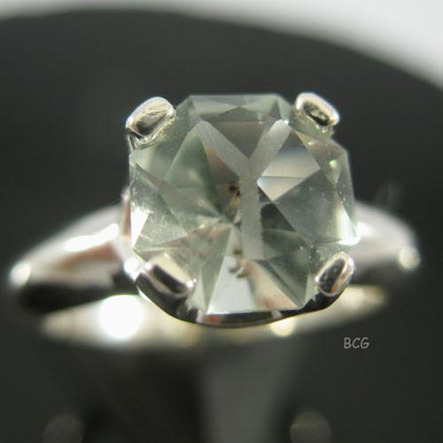 """Y"" Initial Prasiolite Ring #GRI-2031"