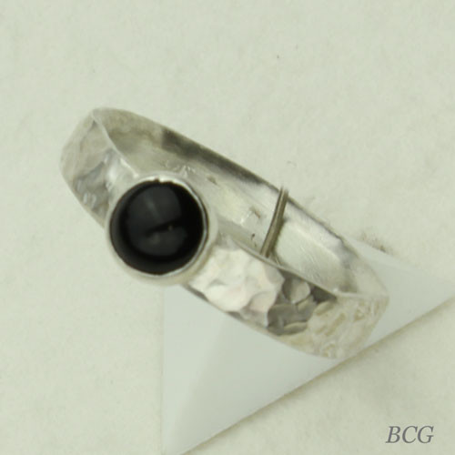 Black Onyx Sterling Silver Ring #RI-306