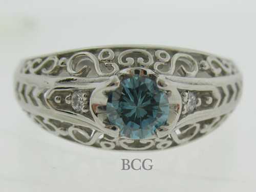 Blue Diamond Palladium Ring #RI-1565