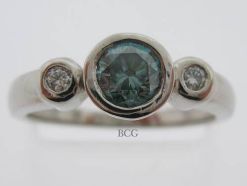 Blue Diamond Palladium Ring #RI-1566