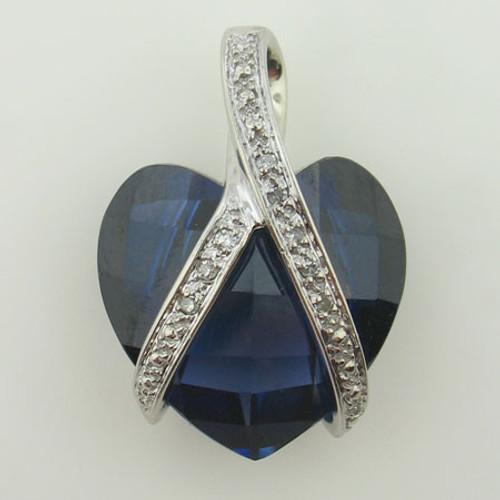 Blue Sapphire & Diamond Heart Necklace