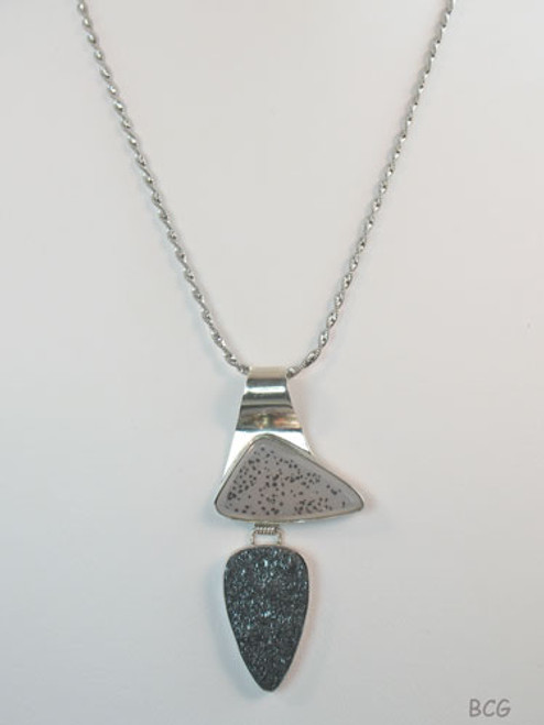 Magnese & Hemitite Drusy Necklace #DR-2012