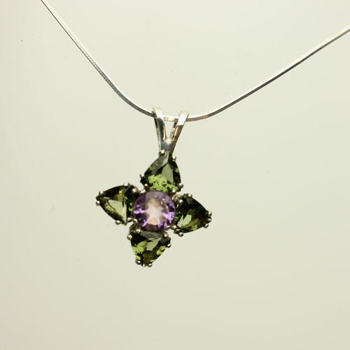 Genuine Moldavite and Amethyst!  Beautiful Moldavite Necklace #0719
