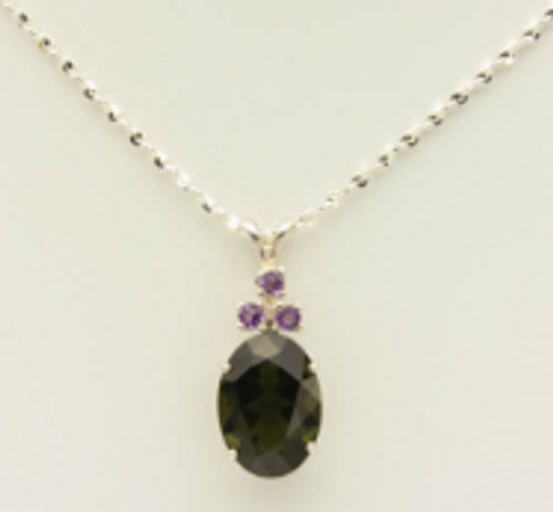 Genuine Moldavite and Amethyst!  Beautiful Moldavite Necklace #0737