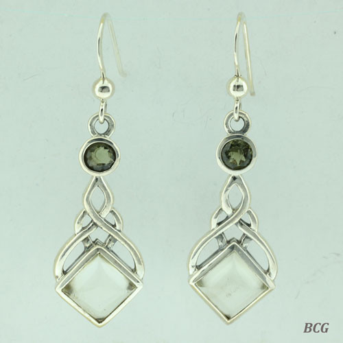 Moldavite & Libyan Desert Glass Earrings #103