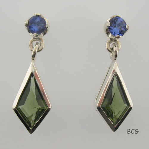 Genuine Moldavite & Tanzanite Earrings #742T