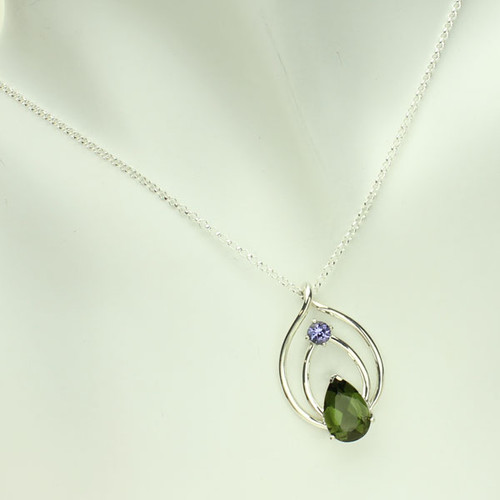 Beautiful Moldavite and Tanzanite Necklace #704