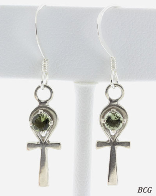 Ankh Cross earrings #0668 featuring round 3 MM genuine Moldavites!