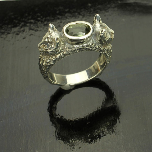 Genuine Moldavite Cat Ring #761