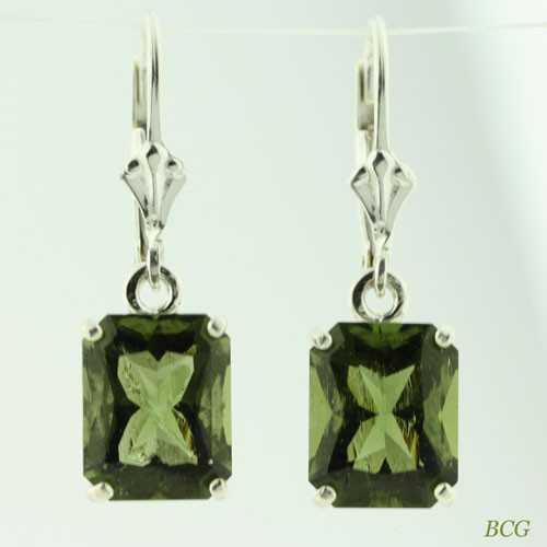 Beautiful Moldavite Earrings #108 Genuine Moldavites