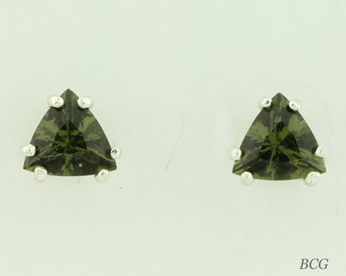 Beautiful Moldavite Earrings #658 Genuine Moldavites