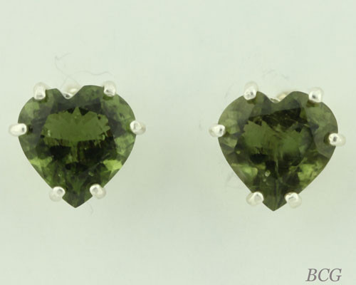 Beautiful Moldavite Earrings #663 Genuine Moldavites