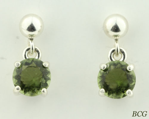 Beautiful Moldavite Earrings #6B Genuine Moldavites