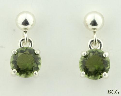 Beautiful Moldavite Earrings #6B Genuine Moldavites