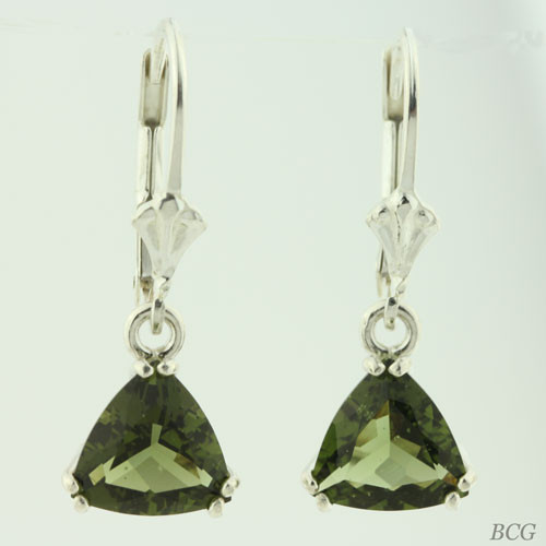 Beautiful Moldavite Earrings #8D Genuine Moldavites