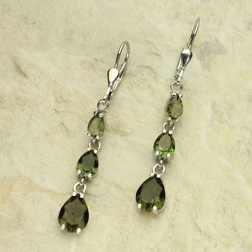 Beautiful Moldavite Earrings! Genuine Six Moldavites #EA-385
