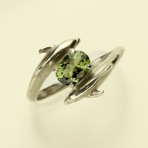 Genuine Moldavite Dolphin Ring #0628