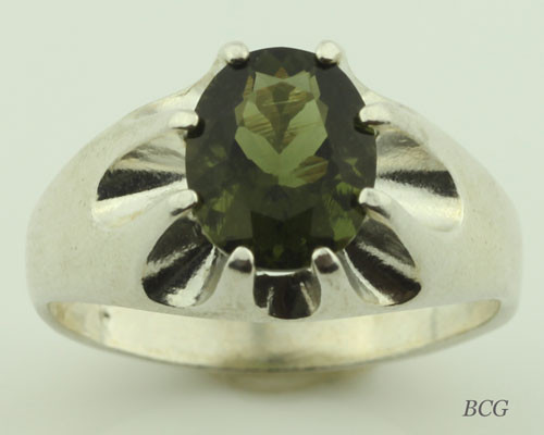 Genuine Moldavite Men's Ring #622
