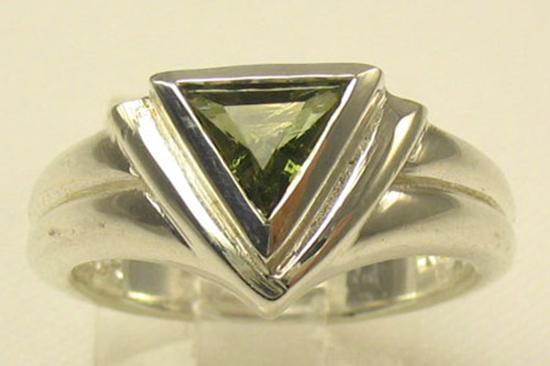 Genuine Moldavite Trilliant Ring #707