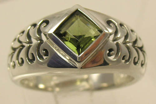Genuine Moldavite Filigree Ring #708
