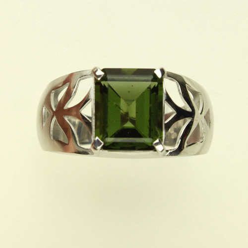Genuine Moldavite Men's Ring #MDRI-763
