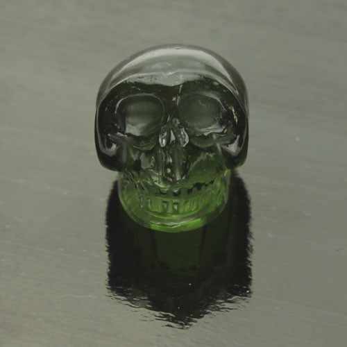 Moldavite Skull Carving #G-2408