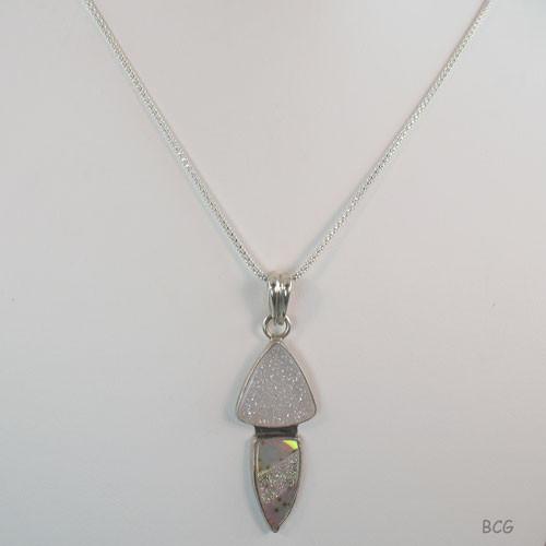 Quartz Drusy and Agate with Platinum Necklace #DR-2013