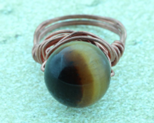 Tiger's Eye Copper Ring #RI-302