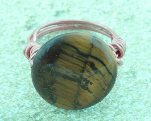 Tiger's Eye Copper Ring  #RI-303