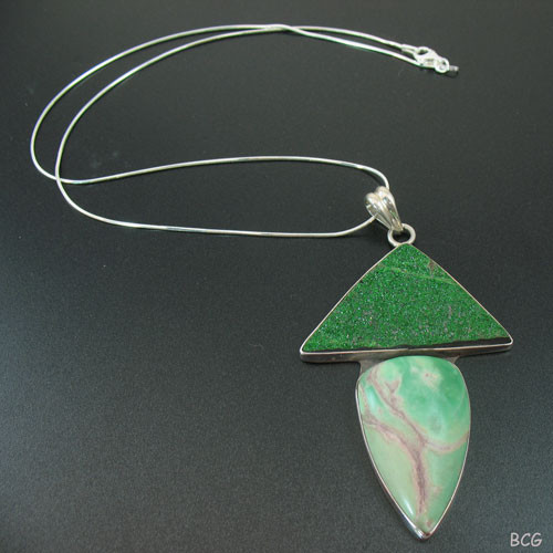 Genuine Druzy, Rare Emerald Green Uvarovite Necklace