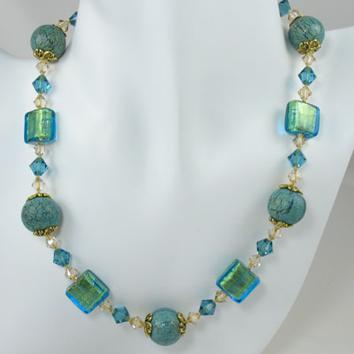 Venetian Aqua Fritte Glass Bead Necklace