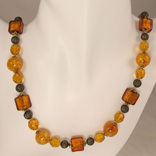 Venetian Sommerso Topaz Glass Bead Necklace