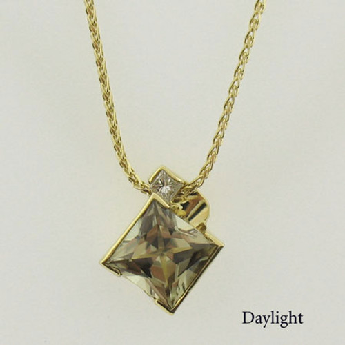 Zultanite and Diamond Gold Necklace