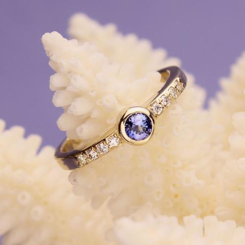 Benitoite Diamond Ring #RI-575